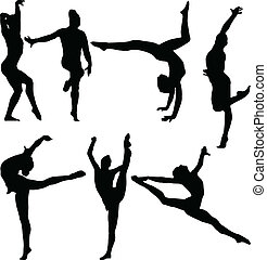gymnastique, collection, -, vecteur