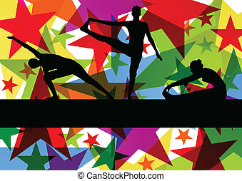gymnastique, coloré, illustration, vecteur, fond, fitness, exercices, ligne, femmes
