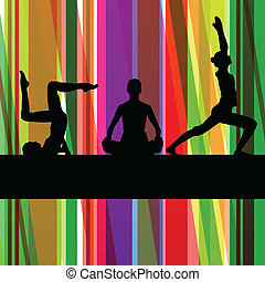 gymnastique, coloré, illustration, vecteur, fond, fitness, ...