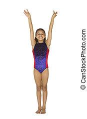 gymnastique, girl, année vieille, 8, poses
