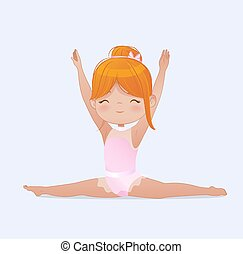 gymnastique, gymnaste, yoga, kids., girl, beau, exercise., vecteur, cheveux, splits., exercices, fond, étirage, flexible, illustration, rouges, isolé, blanc