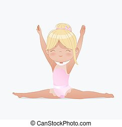 gymnastique, gymnaste, yoga, kids., girl, beau, exercise., vecteur, splits., exercices, fond, étirage, flexible, illustration, ou, isolé, blanc, blonds