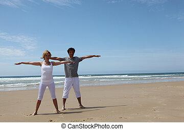gymnastique, plage