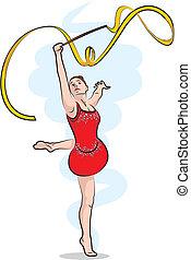 gymnastique rythmique, -, ruban