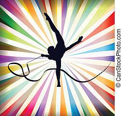 gymnastique suédoise, art, ruses, jeune, illustration, vecteur, gymnastique, fond, sport, résumé, ruban, femmes