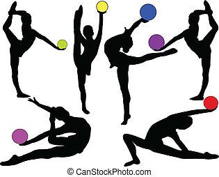 gymnastisch, meiden, met, bal, -, vector