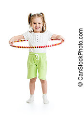 gymnastisk, tunnband, bakgrund, flicka, vit, unge