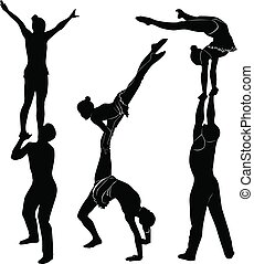 Gymnasts acrobats
