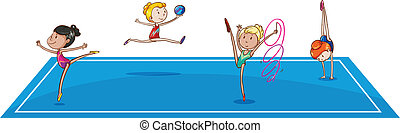 Illustration of the gymnasts at the quadrangle on a white background
