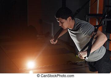gym's, crossfit, straps, trx, séduisant, fitness, poussée, homme, augmente, studio.