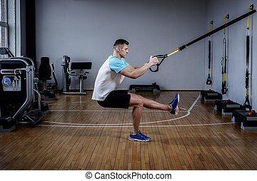 gym's, trening, rzemienie, studio, pociągający, zawieszenie...