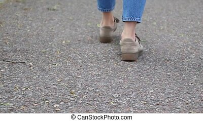 gymschoen, benen, asfalt, meiden, jeans, dancing,...