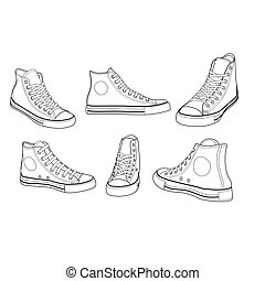 gymschoen, op, gevarieerd, hoeken, schets