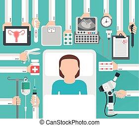 gynécologie, conception, patient, femme, grossesse, plat, monde médical