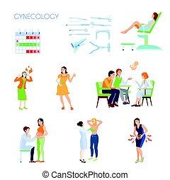 gynaecologie, plat, set, pictogram