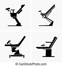 Set of four gynecological chairs