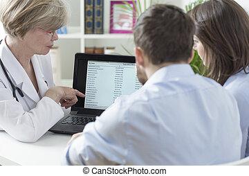 gynecologist, analysieren, prüfungen, ergebnisse