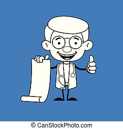 Gynecologist Doctor - Holding a Paper Scroll and Showing Thumbs Up