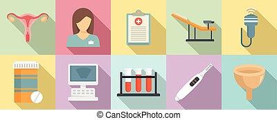 Gynecologist icons set, flat style