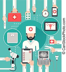 Gynecologist medical flat design isolated vector...