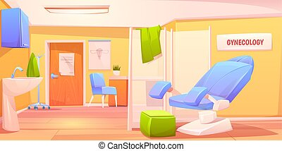 Gynecology doctor office. Patient examination room with gynecological chair and folding screen. Cabinet for women with medical equipment. Reproductive system health care Cartoon vector illustration