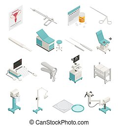 Gynecology Isometric Icons Set