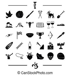 gynecology, reward, space and other web icon in black style. mine, shoes, entertainment icons in set collection.
