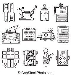 gynecology, vetorial, pretas, cobrança, ícones