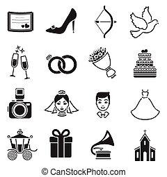 gyomlálás, állhatatos, ikonok, alatt, fekete, style., nagy, gyűjtés, esküvő, vektor, jelkép, állandó ábra