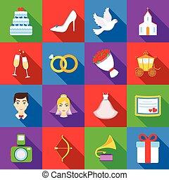 gyomlálás, állhatatos, ikonok, alatt, lakás, style., nagy, gyűjtés, esküvő, vektor, jelkép, állandó ábra