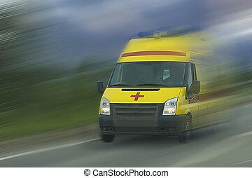gyorsítás, közül, mentőautó, autó