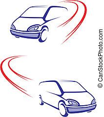 gyorsan, autó, képben látható, út