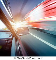 gyorsan, autók, alatt, alagút
