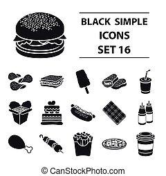 gyorsan elkészíthető étel, állhatatos, ikonok, alatt, fekete, style., nagy, gyűjtés, gyorsan elkészíthető étel, vektor, jelkép, állandó ábra