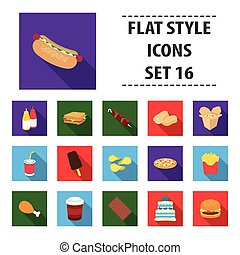gyorsan elkészíthető étel, állhatatos, ikonok, alatt, lakás, style., nagy, gyűjtés, gyorsan elkészíthető étel, vektor, jelkép, állandó ábra