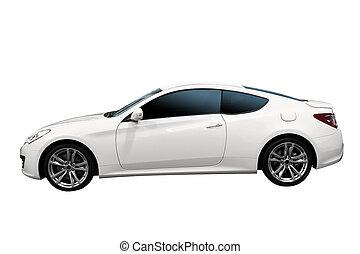 gyorsan, fehér, autó