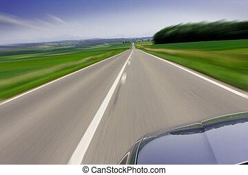 gyorsan, mozgató, autó, képben látható, út