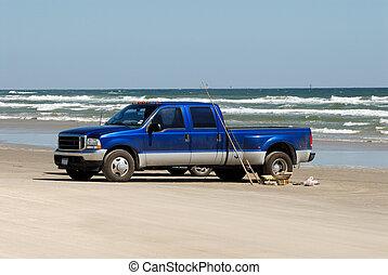 gyorsulás teherkocsi, a parton, alatt, déli, texas, usa
