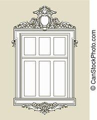 gypse, illustration., vendange, relief., fenêtre, vecteur,...