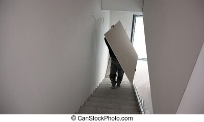 gypse, porter, feuille, unrecognizable, escalier, ...