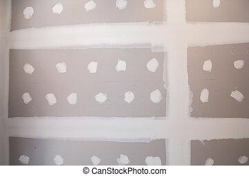 gypsum board ceiling at construction site - gypsum board...