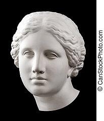 Gypsum copy of ancient statue Venus head isolated on black ...
