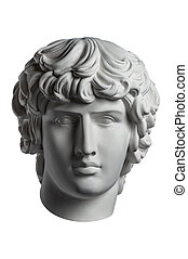 Gypsum copy of famous ancient statue Antinous head isolated ...