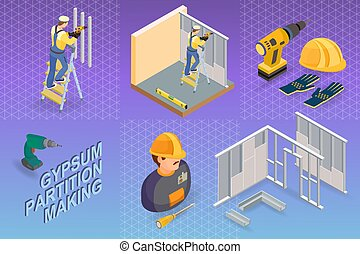 Gypsum partition making. Isometric concept. Worker, ...