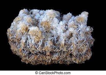 gypsum stone crystallized in a black isolated background