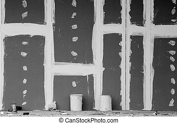 Gypsum wall with joints - Front view of gypsum wall with...