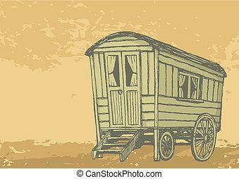 Sketch of gypsy caravan wagon colored in sepia tones