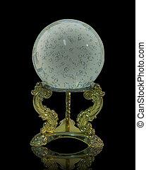 Gypsy Crystal ball on black - Image and illustration...