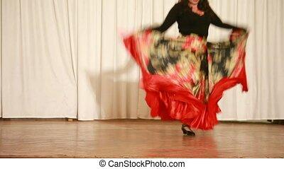 Gypsy female on high heels perform traditional dance
