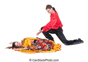 Gypsy flamenco dancer couple, isolated on white in full...